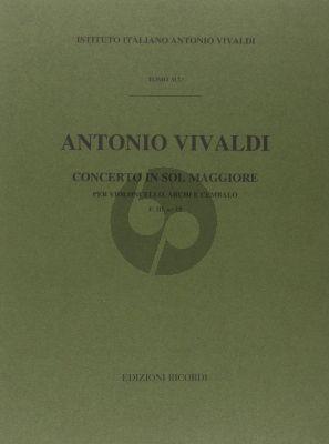 Vivaldi Concerto G-major RV 414 F.III n.19 Violoncello-Strings-Bc (Full Score) (edited by G.F. Malipiero)