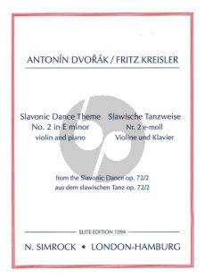 Dvorak Slavonic Dance Op.72 No.2 e-minor Violin and Piano (Fritz Kreisler)