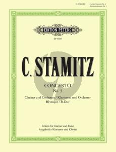 Stamitz Konzert B-dur No.3 Klarinette Orchester Klavierauszug von Johannes Wojciechowski (Peters)
