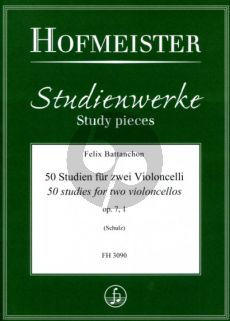 Battanchon 50 Studien Op.7 Vol.1 2 Violoncellos (ed. Walter Schulz)