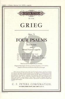 Grieg 4 Psalmen Op.74 Baritone-SATB (English) (Peters)