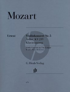 Mozart Concerto No.5 A-major KV 219 Violin-Orch. (piano red.) (edited by Wolf-Dieter Seiffert) (Henle-Urtext)