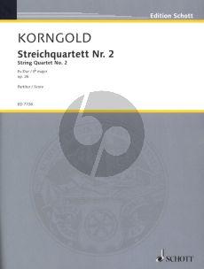 Korngold Streich Quartet No.2 Op.26 E-flat major 2 Violinen, Viola und Violoncello (Partitur)