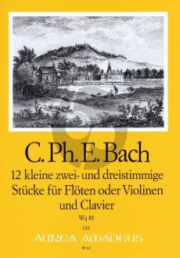Bach 12 kleine zwei und dreistimmige Stücke Wq 81 Flöten[Violinen]-Bc (Part./Stimmen) (Manfredo Zimmermann)