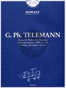 Telemann Sonate TWV 41: C2 in C Major Treble Recorder-Bc (Bk-Cd) (Dowani Play-Along)