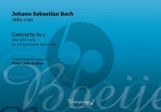 Bach Concerto in c after BWV 1063 for Organ (after Concerto for for 3 harpsichords and strings) (arr. Pieter-Jelle de Boer)