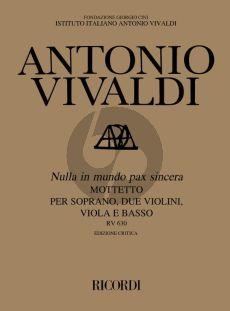 Vivaldi Nulla in Mundo Pax Sincera RV 630 (Motetto Soprano-2 Violins-Viola-Bc) (Score) (edited by Paul Everett)