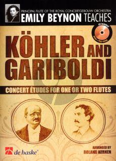 Beynon Kohler and Gariboldi (Concert Etudes for 1 or 2 Flutes) (Bk-Cd) (edited by R.Kernen) (interm.-adv.) (grade 6)