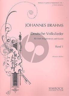 Brahms Deutsche Volkslieder Vol.1 2 Singstimmen(Frauen- und eine Männerstimme)-Klavier