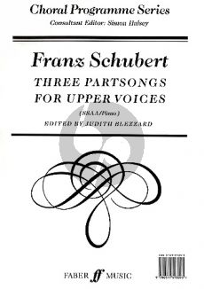 Schubert 3 Partsongs for Upper Voices SSAA-Piano