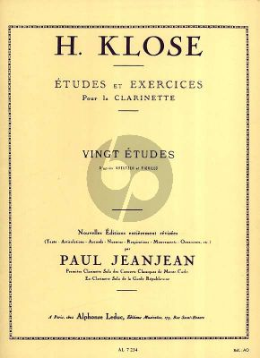 Klose 20 Etudes d'apres Kreutzer-Fiorillo Clarinette (Paul JeanJean Grade 8 - 9) (English, French)