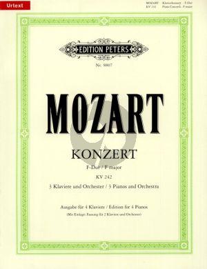 Mozart Konzert F-dur KV 242 (3 Klaviere und Orchester) (Ausgabe für 4 Klaviere) (Urtext)