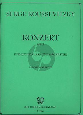 Koussevitzky Konzert Op.3 Kontrabass-Orchester Studienpartitur