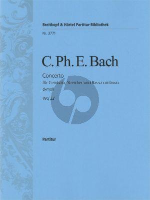 Bach Konzert d-moll WQ 23 Cembalo-Streicher-Bc Partitur (Gertrud Wertheim)