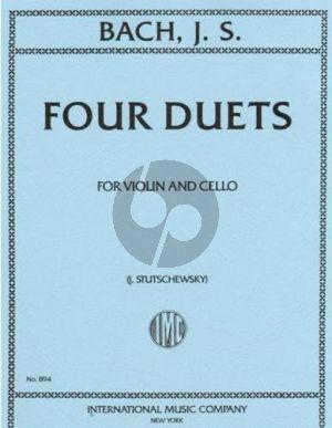 Bach 4 Duets BWV 802 - 805 Violin and Violoncello (3.Teil Klavierubung) (Stutschewsky)
