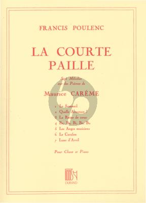 Poulenc La Courte Paille (Poemes de M. Careme) Medium Voice-Piano