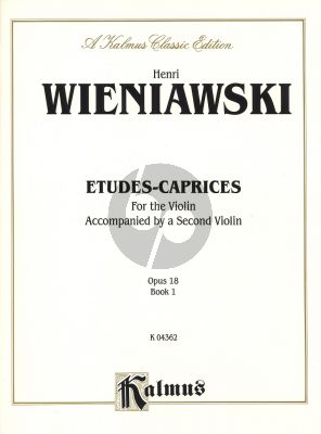 Wieniawski Etudes-Caprices Op.18 Vol.1 Violin (Accompanied by a Second Violin)