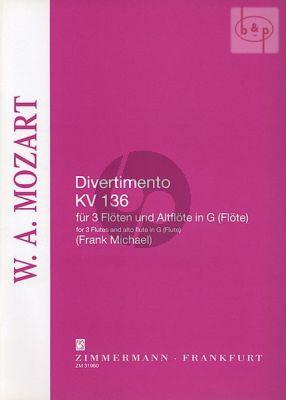 Divertimento No.1 KV 136 (3 Flutes and Alto Flute or 4 equal Flutes)
