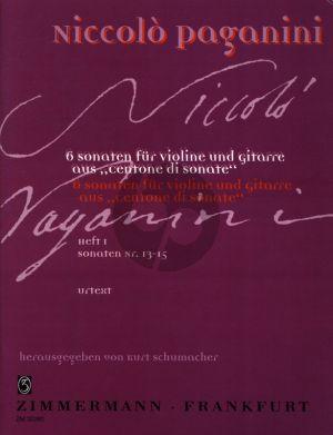 Paganini 6 Sonaten fur Violine und Gitare Vol.1 (aus Centone di Sonate- Sonaten 13-15) (Herausgegeben von Kurt Schumacher)