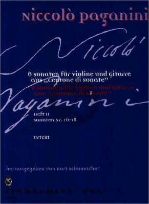 Paganini 6 Sonaten fur Violine und Gitare Vol.2 (aus Centone di Sonate- Sonaten 16-18) (Herausgegeben von Kurt Schumacher)