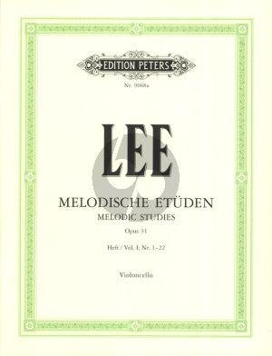 Lee Melodische Etuden Op.31 Vol.1 (No.1-22) Violoncello (Herausgegeben von Wolfgang Goldhan)