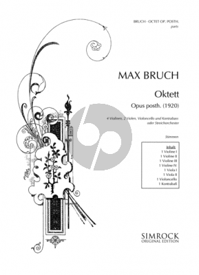 Bruch Octet Op.Posth. (1920) (for Soli or String Orchestra) 4 Violins- 2 Violas-Violoncello-Db (Set of Parts)