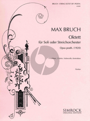 Bruch Octet Op.Posth. (1920) (for Soli or String Orchestra) 4 Violins- 2 Violas-Violoncello-Db (Score)