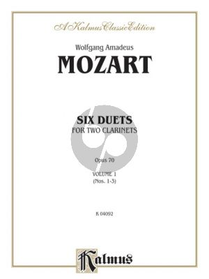 Mozart 6 Duets Op.70 Vol.1 for 2 Clarinets