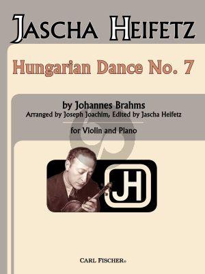 Brahms Hungarian Dance No. 7 Violin and Piano (edited by Jascha Heifetz)