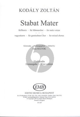 Kodaly Stabat Mater for TTBB or SATB (First Edition) (Edited by Sulyok Imre)