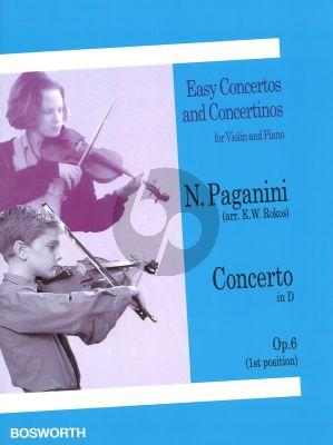 Paganini Concerto No.1 D-Major Op.6 Violin and Piano (arr. K.W. Rokos) (Violin in First Position)