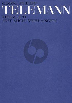 Telemann Herzlich tut mich Verlangen TWV 1:784 TBsoli-SATB-Strings-Organ Full Score (Telemann-Archiv)