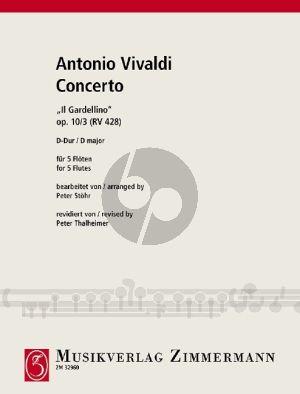 "Vivaldi Concerto No.3 RV 428 D-major ""Il Gardelino"" for 5 Flutes (Score/Parts) (arr. Peter Stohr rev. Peter Thalheimer)"