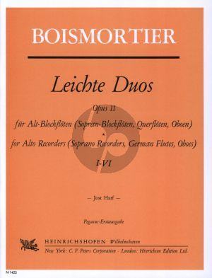 Boismortier Leichte Duos Op.11 (No.1 - 6) Alt- oder Sopranblockfloten oder Floten/Oboen (Herausgegeben von Jost Harf)