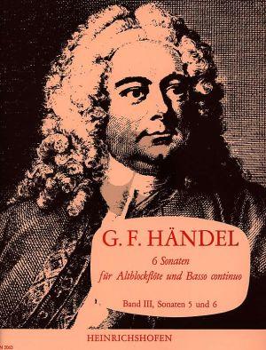 Handel 6 Sonaten Vol.3 No.5-6 HWV 367 und HWV 367A (Altblockflote und Basso Continuo)