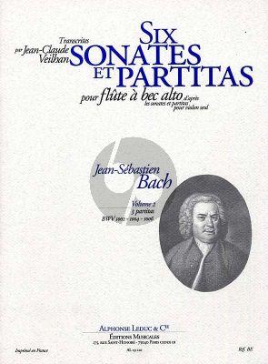 Bach 6 Sonates & Partitas vol.2 BWV 1002-1004-1006 Treble Recorder (arr. by J.C. Veilhan) Nabestellen