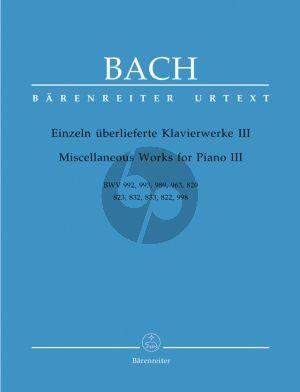 Bach Einzeln uberlieferte Klavierwerke Vol.3 (Urtext der Neuen Bach-Ausgabe)