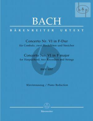 Concerto No.6 F-major BWV 1057 (Harpsichord- 2 Rec.-Strings) (piano red.)