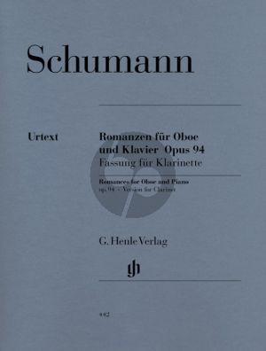 Schumann Romanzen Op.94 fassung fur Klarinette (mit Stimme in Bb un A) und Klavier (Henle-Urtext)