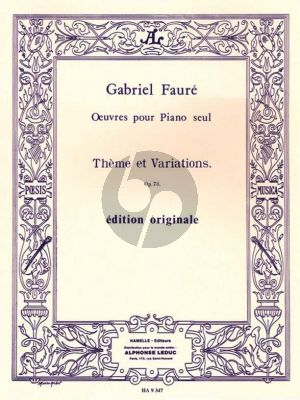 Faure Theme et Variations Opus 73 Piano