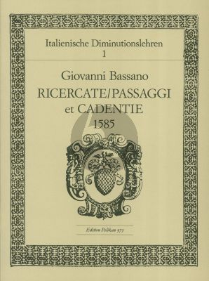 Bassano Ricercate - Passi e Cadenzi 1585 Flöte oder Violine (Richard Erig)