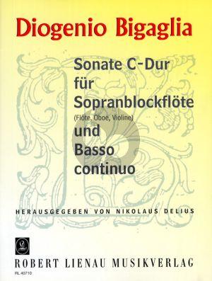 Bigaglia Sonate C-dur Sopranblockflöte (Flöte /Violine/Oboe) und Bc (Nikolaus Delius)