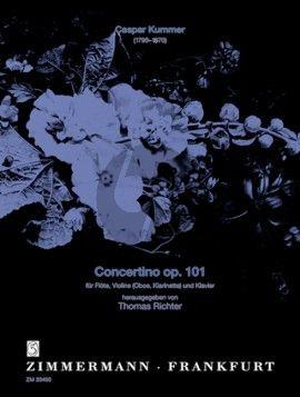 Kummer Concertino C-dur Op.101 Flöte, Violine (Oboe, Klarinette) und Klavier (Partitur/Stimmen) (Thomas Richter)