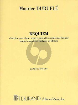 Durufle Requiem Op.9 Partition d'Orchestre (Réduction Soloist (Bar), (SATB), Stringorchestra and Organ; Trumpet, Harp, Timpani ad lib.)
