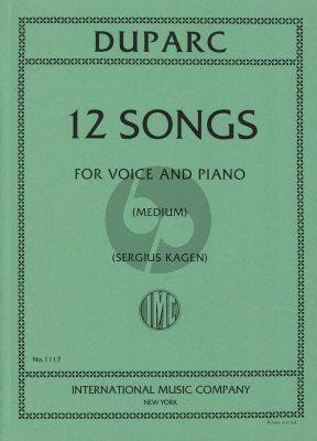 Duparc 12 Songs Medium Voice (Sergius Kagen)