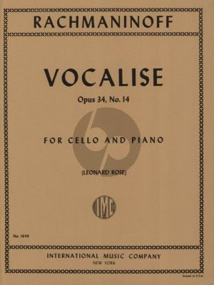 Rachmaninoff Vocalise Op.34 No.14 Violoncello-Piano (Edited by Leonard Rose)