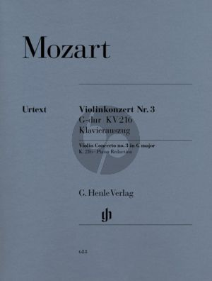Mozart Concerto No.3 G-major KV 216 Violin-Orch. (piano red.) (edited by Wolf-Dieter Seiffert) (Henle-Urtext)