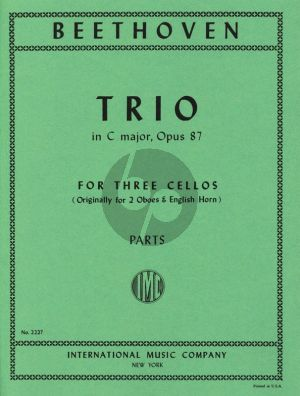 Beethoven Trio C-major Op.87 3 Cellos (Parts) (originally for 2 Oboes and English Horn) (Prell)