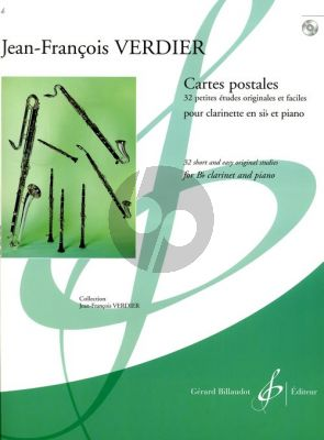 Verdier Cartes Postales (32 Pieces Originales et Faciles) Clarinette (Bk-Cd)