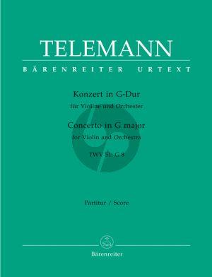 Kross Konzert G-dur TWV 51: G 8 Violine und Orchester (Partitur) (Siegfried Kross)